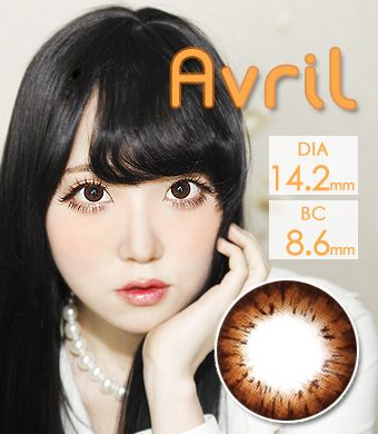 【遠視/12ヶ月カラコン】Avril (A132) Choco / 1295</br>DIA:14.2mm, 度あり+4.00まで