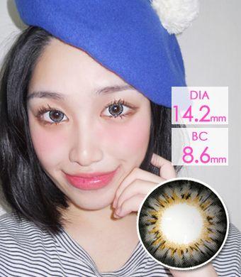 【遠視/12ヶ月カラコン】Bess (A133) Gray  /1305 </br> DIA:14.2mm, 度あり+4.00まで