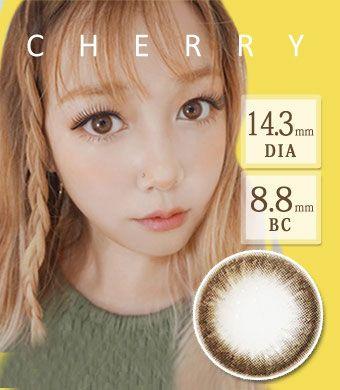 【1年カラコン】Cherry CHOCO / 1407</BR>DIA:14.3mm, 度あり‐10.00まで