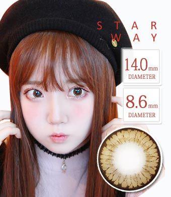 【1年カラコン】スターウェイ brown / 1349 </BR>DIA:14.0mm, 度あり‐8.00まで
