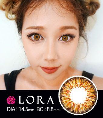 【1年カラコン】Lora MS  Brown/ 1447  </BR> DIA:14.5mm, 度あり‐10.00まで