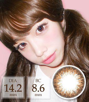【1ヶ月カラコン】 アン アドキャットBrown / 1458</BR>DIA:14.2mm, 度あり‐6.00まで