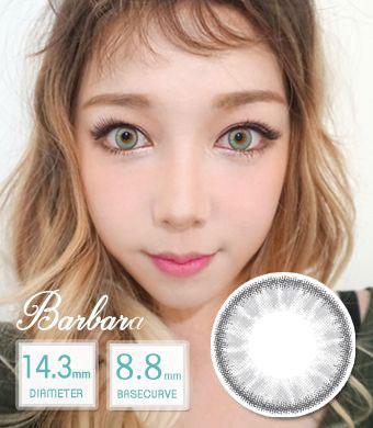 【12ヶ月カラコン】 Barbara gray/ 1444 </BR>DIA:14.3mm, 度あり‐10.00まで