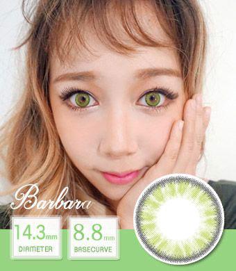 【12ヶ月カラコン】 Barbara green/ 1446 </BR>DIA:14.3mm, 度あり‐10.00まで