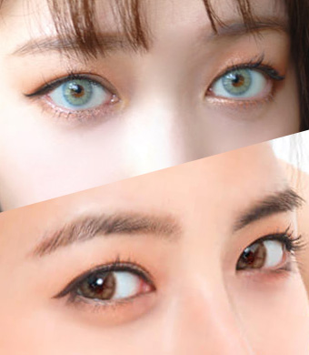 【ハーフ2セット/乱視】 Luna Blue + Honeydew Brown<br> DIA:14.0mm, G.DIA:13.7mm/12.7mm