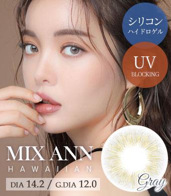 [シリコンハイドロゲル] MIX ANN Hawaiian Gray / 1537</BR>DIA:14.2mm, 度あり‐6.00まで