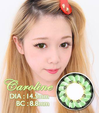 【1年カラコン】 Caroline (LF3) Green / 098</BR>DIA:14.5mm, 度なし