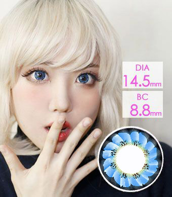 【1年カラコン】Caroline Blue (LF3) / 1218</BR>DIA:14.5mm, 度あり‐8.00まで