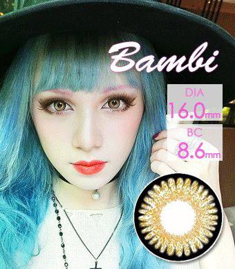 【1年カラコン】Bambi Brown / 977</BR>DIA:16.0mm, 度あり‐8.00まで