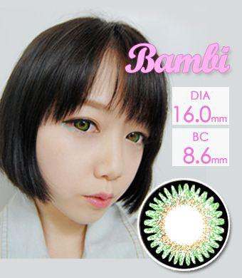 【1年カラコン】Bambi Green / 979</BR>DIA:16.0mm, 度あり‐8.00まで