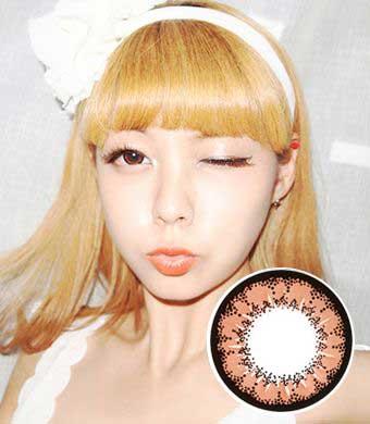【1年カラコン】Super Angel Brown / 009</BR>DIA:14.5mm, 度あり‐8.00まで