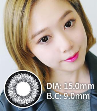 【1年カラコン】Daisy K17 Black / 716</BR>DIA:15.0mm, 度あり‐10.00まで