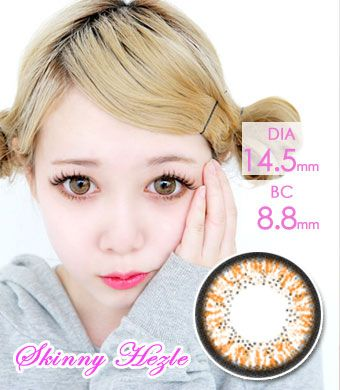 """BEST<FONT COLOR=""""4697f2""""> [ Lucky! ¥990]</FONT>【1年カラコン】 Skinny Hazle Brown / 157</BR>"""